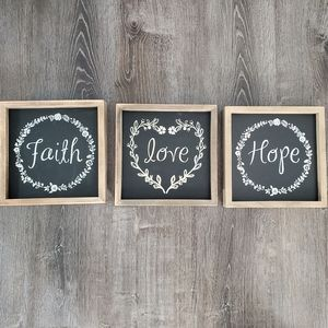 Farmhouse chalkboard wall decor faith hope love